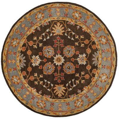 Cranmore Hand-Tufted Brown/Beige Area Rug Rug Size: Round 8