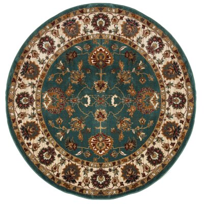 Lowe Oriental Teal Area Rug Rug Size: Round 67