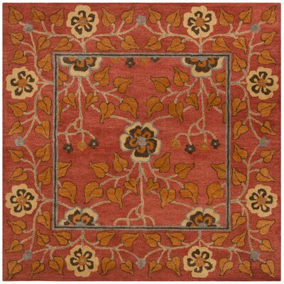 Cranmore Hand-Tufted Red/Orange Area Rug Rug Size: Square 8 x 8