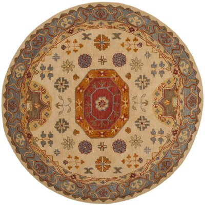 Cranmore Hand-Tufted Beige/Brown Area Rug Rug Size: Round 8