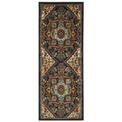 Rasmussen Gray/Red Area Rug Rug Size: Runner 23 x 10