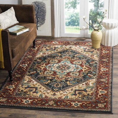 Rasmussen Gray/Red Area Rug Rug Size: Rectangle 10 x 14