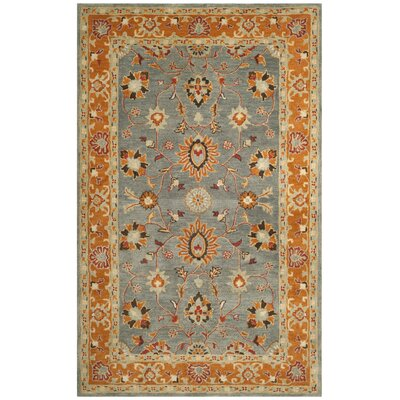 Cranmore Hand-Tufted Gray/Orange Area Rug Rug Size: Rectangle 6 x 9