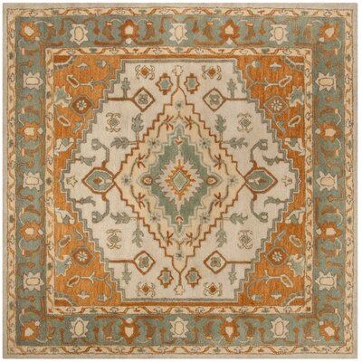 Cranmore Hand-Tufted Gray/Beige Area Rug Rug Size: Square 8 x 8