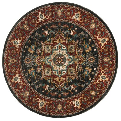 Rasmussen Gray/Red Area Rug Rug Size: Round 67
