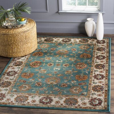 Lowe Oriental Teal Area Rug Rug Size: Rectangle 9 x 12