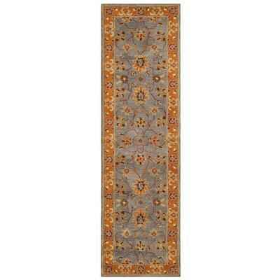 Cranmore Hand-Tufted Gray/Orange Area Rug Rug Size: Runner 23 x 12
