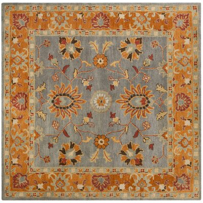 Cranmore Hand-Tufted Gray/Orange Area Rug Rug Size: Square 8'