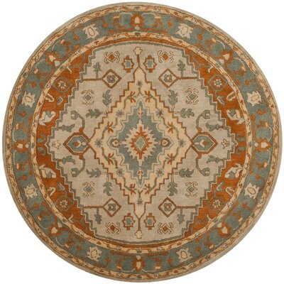 Cranmore Hand-Tufted Gray/Beige Area Rug Rug Size: Round 8 x 8