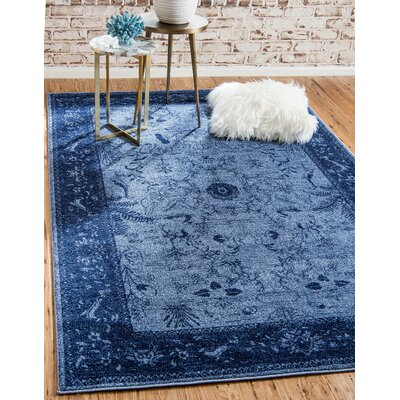 Berthold Blue Area Rug Rug Size: Rectangle 106 x 165