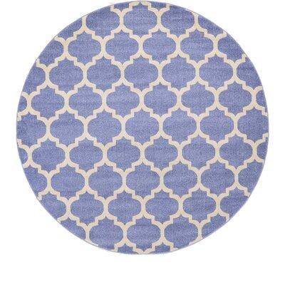 Harding Light Blue Area Rug Rug Size: Round 8