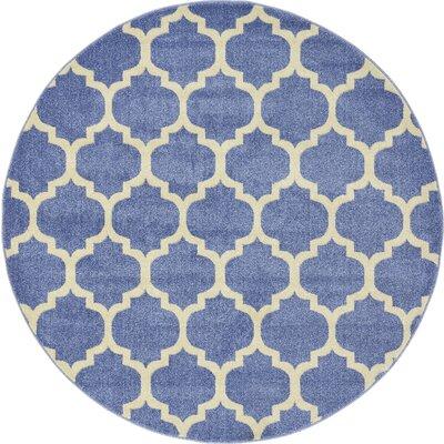 Harding Light Blue Area Rug Rug Size: Round 6