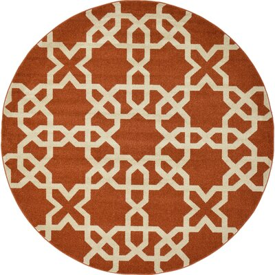 Coughlan Red/Beige Area Rug Rug Size: Round 6