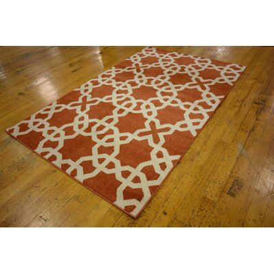 Coughlan Red/Beige Area Rug Rug Size: Rectangle 5 x 8