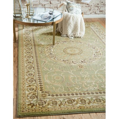 Oskar Light Green Area Rug Rug Size: Round 8