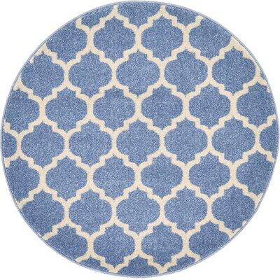 Harding Light Blue Area Rug Rug Size: Round 32