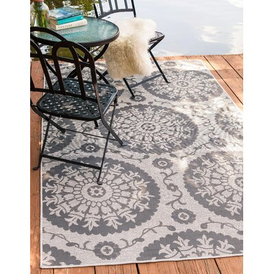 Forbes Gray Outdoor Area Rug Rug Size: Rectangle 33 x 5