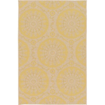 Arabian Yellow Indoor/Outdoor Area Rug Rug Size: Rectangle 6 x 9