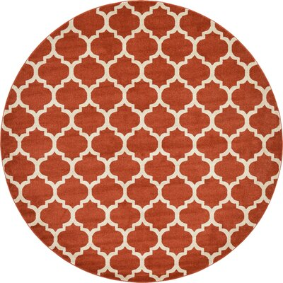 Moore Rust Area Rug Rug Size: Round 10