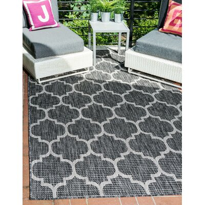 Ernestine Black Outdoor Area Rug Rug Size: Rectangle 7 x 10