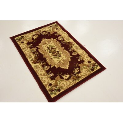 Sheffield Beige / Red Area Rug Rug Size: Rectangle 33 x 53
