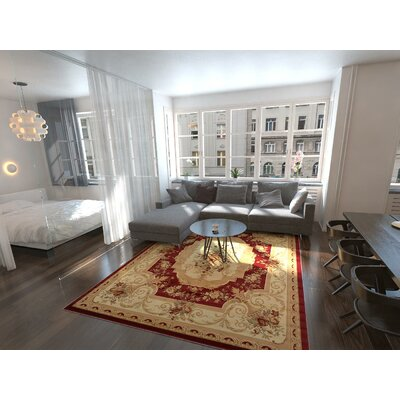 Sheffield Beige / Red Area Rug Rug Size: Square 4
