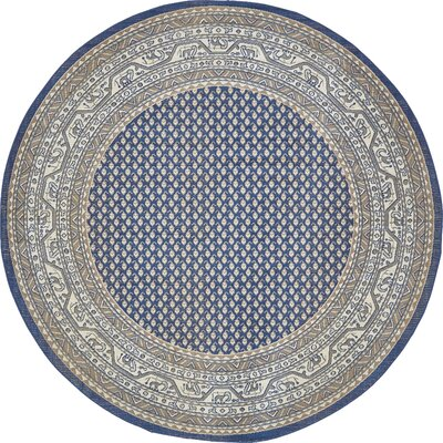 Gillam Blue Area Rug Rug Size: Round 8