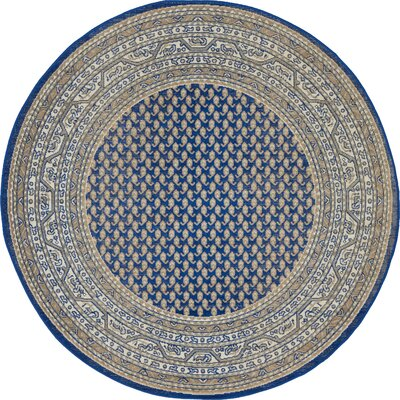 Gillam Blue Area Rug Rug Size: Round 5