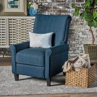 Rhoades Fabric Recliner Upholstery: Navy Blue