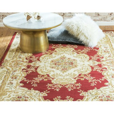 Oskar Maroon Area Rug Rug Size: Rectangle 9 x 12