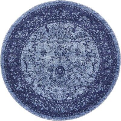 Shailene Blue Area Rug Rug Size: Round 6