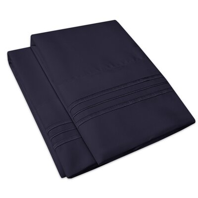 Searsmont 1500 Series Collection Ultra-Soft Embroidered Pillowcase Size: Standard, Color: Navy