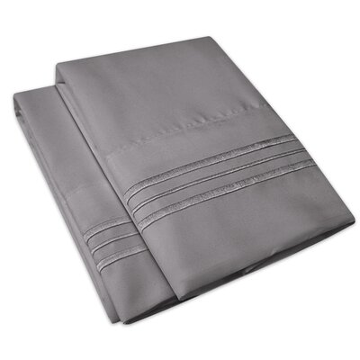 Searsmont 1500 Series Collection Ultra-Soft Embroidered Pillowcase Size: King, Color: Gray