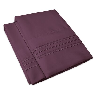 Searsmont 1500 Series Collection Ultra-Soft Embroidered Pillowcase Size: King, Color: Purple