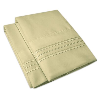 Searsmont 1500 Series Collection Ultra-Soft Embroidered Pillowcase Size: King, Color: Sage