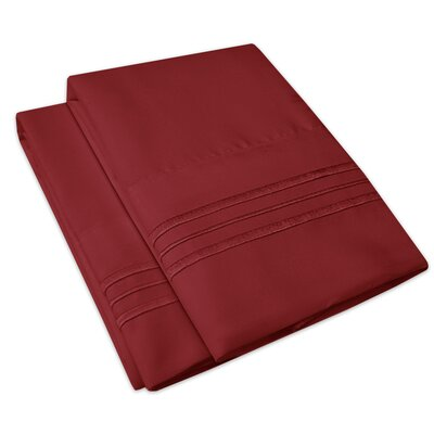 Searsmont 1500 Series Collection Ultra-Soft Embroidered Pillowcase Size: King, Color: Burgundy