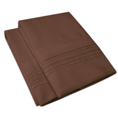 Searsmont 1500 Series Collection Ultra-Soft Embroidered Pillowcase Size: Standard, Color: Brown