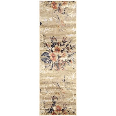 Golston Washed Floral Beige Area Rug Rug Size: Runner 27 x 8