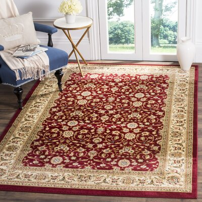 Silvera Red/Ivory Area Rug Rug Size: Rectangle 6 X 9