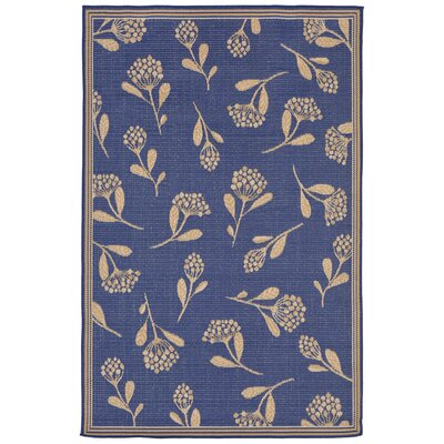 Venetian Summer Flower Power Loom Blue Indoor/Outdoor Area Rug Rug Size: Runner 111 x 76