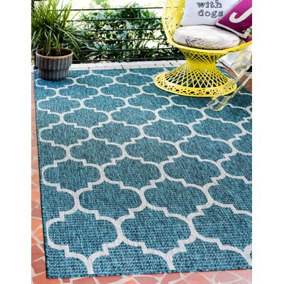 Enola Teal/Grey Outdoor Area Rug Rug Size: Rectangle 6 x 9
