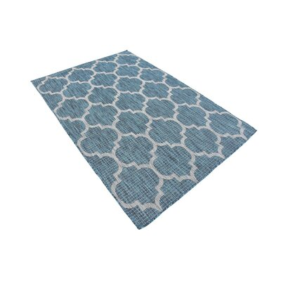 Enola Teal/Grey Outdoor Area Rug Rug Size: Rectangle 4 x 6
