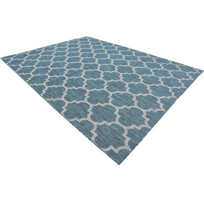 Enola Teal/Grey Outdoor Area Rug Rug Size: Rectangle 9 x 12