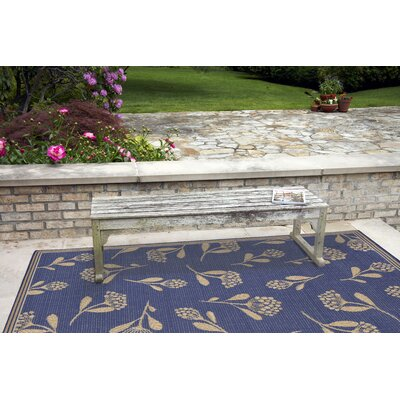 Venetian Summer Flower Power Loom Blue Indoor/Outdoor Area Rug Rug Size: Rectangle 410 x 76