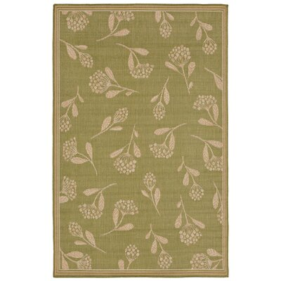 Venetian Summer Flower Power Loom Green Indoor/Outdoor Area Rug Rug Size: Runner 111 x 76