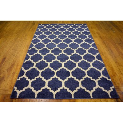 Coughlan Blue/Ivory Area Rug Rug Size: Rectangle 5 x 8