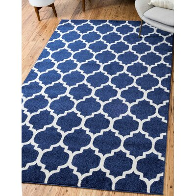 Coughlan Blue/Ivory Area Rug Rug Size: Rectangle 8 x 10