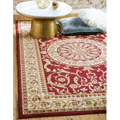 Oskar Red Area Rug Rug Size: Square 6 x 6
