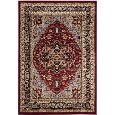 Ottis Mary Red & Black Area Rug Rug Size: Rectangle 53 x 76