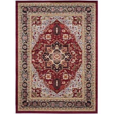 Ottis Mary Red & Black Area Rug Rug Size: Rectangle 79 x 109